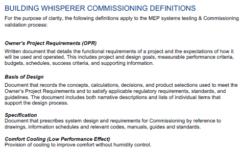 Building Whisperer Commissioning Definitions